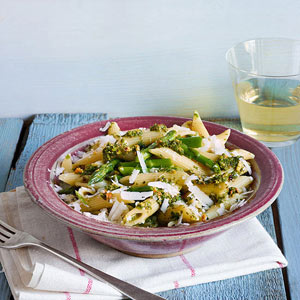 Penne with Asparagus, Mint and Pistachios