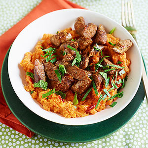 Lamb Sausage with Harissa Sweet Potatoes