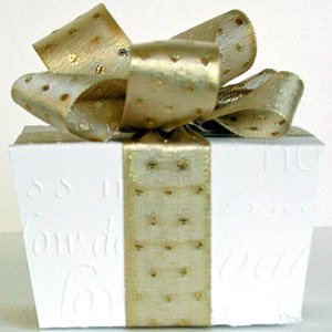 White Embossed Box With Ribbon