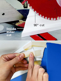 Make triangular return, Use masking tape until glue sets