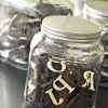 Store foam stamps in clear jars