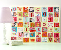 CREATE AN ALPHABET CANVAS WITH PATTERNED PAPERS AND EMBELLISHMENTS