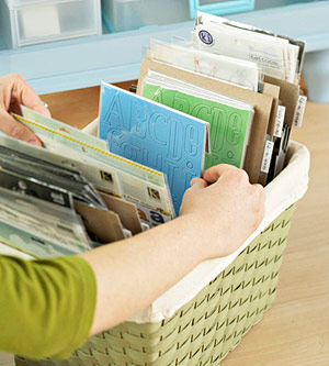 ORGANIZE SCRAPBOOK SUPPLIES IN BASKETS