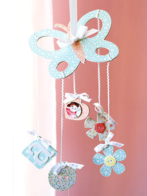 MAKE A BABY MOBILE WITH EMBELLISHED CHIPBOARD SHAPES