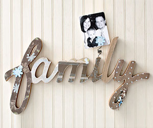 DRESS UP A WOODEN WORD WITH PATTERNED PAPER