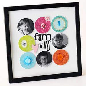 FRAME TINY FAMILY PHOTOS AND PATTERNED-PAPER CIRCLES
