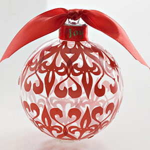 COVER A GLASS CHRISTMAS ORNAMENT WITH RUB-ONS