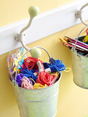 Use a coatrack as scrapbooking supply storage