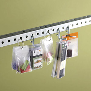 Hang scrapbooking supplies in plastic bags