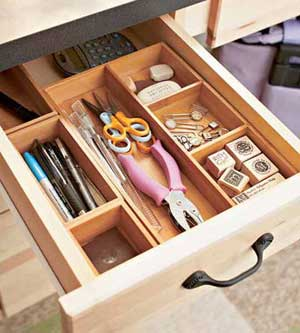 Drawer organizers in Polly's desk