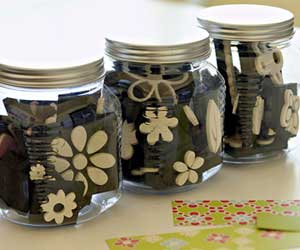 Foam stamps in glass jars