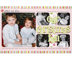 Round The Corners Of Christmas Photos On A Two-Page Scrapbook Layout