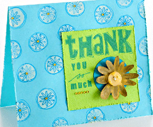 Stamp a thank-you card with bleach