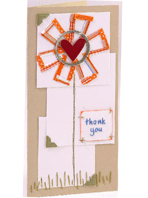 Use stitching to embellish a thank-you card