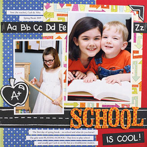 PERSONALIZE A SCHOOL SCRAPBOOK PAGE WITH EMBOSSED DRAWINGS