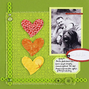 DIE-CUT COLORFUL FABRIC TO CREATE A FRESH SCRAPBOOK PAGE