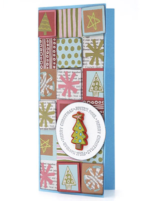 Accentuate Parts Of A Holiday-Print Paper To Make An Easy Card