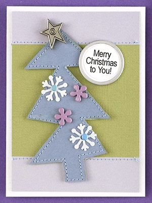 Decorate A Paper Tree On A Christmas Card
