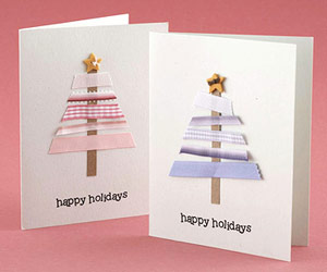 Use Ribbon Scraps To Make Trees On Holiday Cards