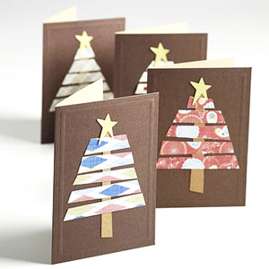 Make Sets Of Holiday Cards Quickly By Using Scraps And Bought Card Bases