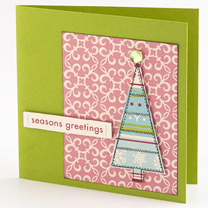 Stamp A Holiday Shape On Patterned Paper To Embellish A Card