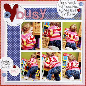 USE A COLLAGE TEMPLATE FOR A MULTIPHOTO GIRL SCRAPBOOK PAGE