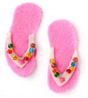 micro beads on the straps of pink sandals