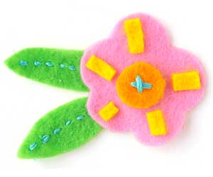 flower piecing embellished with felt