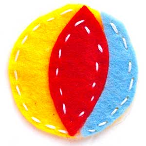 beach ball made of felt piecings with stitching