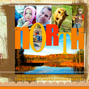 CREATE A PHOTO AND TITLE COLLAGE ON A NATURE-INSPIRED PAGE