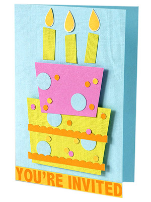 Accentuate birthday invitation elements with adhesive foam