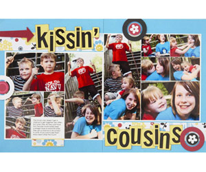 Stagger Photo Collages On Two-Page Scrapbook Layouts