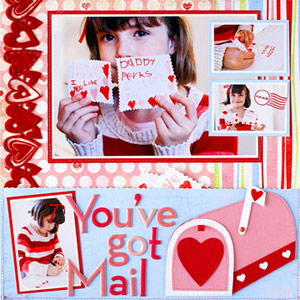 PAPER-PIECE EMBELLISHMENTS FOR VALENTINES DAY SCRAPBOOK PAGES