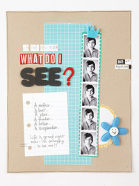 Adult scrapbook page with tiny photos and patterned paper strips; beginner scrapbooking