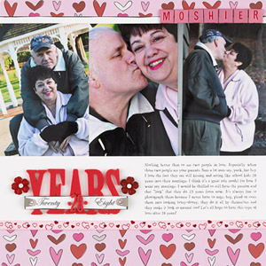 Adult scrapbook page about parents, marriage; beginner scrapbooking