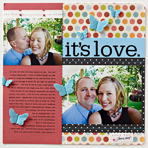 Adult scrapbook page with stitching and sewing techniques; beginner scrapbooking