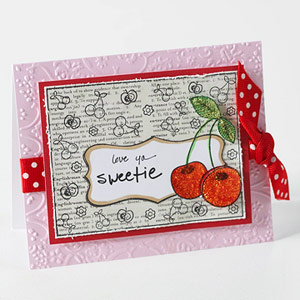 Valentine?s Day card with cherry accents