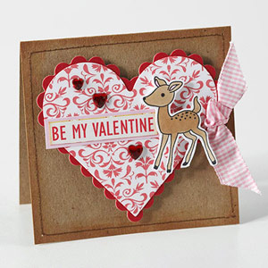 Traditional Valentine card with heart cutout