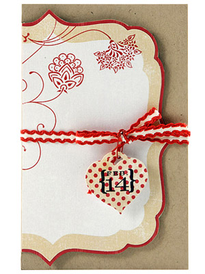 Trim around decorative paper for an unusually shaped Valentine