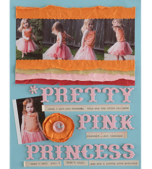 Girl scrapbook page with handmade flower accent from patterned paper; pretty pink princess