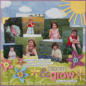 spring scrapbook page with 7 photos; flower accents, sun piecing