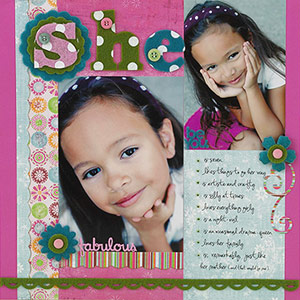 Scrapbook page with felt title