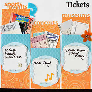 Concert, sporting event, vacation tickets on a scrapbook page