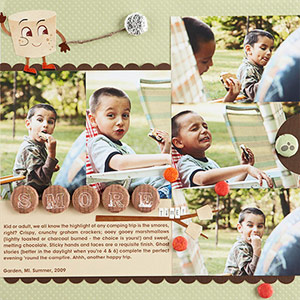 Scrapbook page with personalized brads, i-top tool from Imaginisce