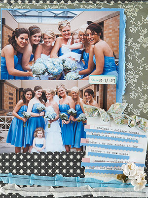 Wedding scrapbook page photos with bridesmades