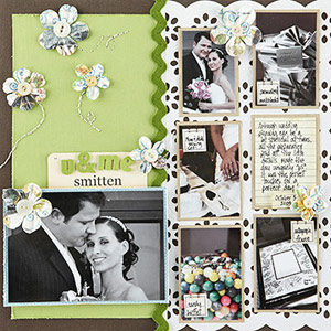 Wedding scrapbook page; multiphoto, green, flowers