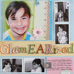 Border punched used to accent photo on scrapbook page
