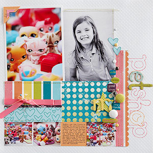 Colorful scrapbook page with predominant black-and-white photo