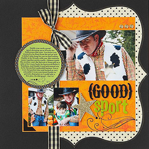 Halloween scrapbook page; adult costume