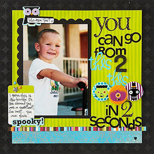 Boy scrapbook page with Halloween accents